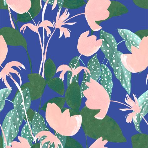 Begonia pattern Georgie Daphne blue